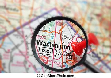 Washington DC - Closeup of a map of Washington DC with red ...