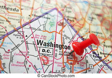 Washington DC - Closeup of a map of Washington DC with red ...