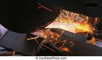 Closeup of a metal cutting saw