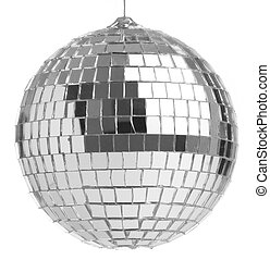 mirrorball - closeup of a mirrorball on a white background