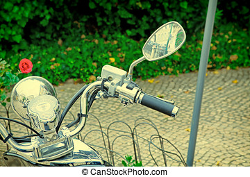 Closeup of a motorcycle's instrument cluster. vintage...