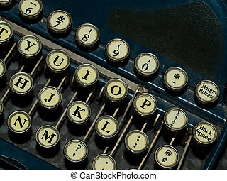 Closeup of a Old, Manual Typewriter Keyboard