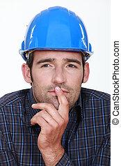 Closeup of a pensive man