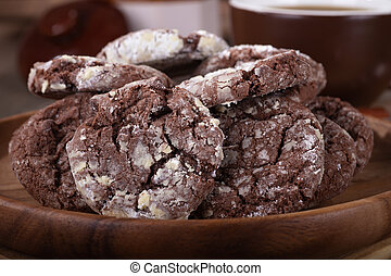 Closeup of a Pile of Chocolate Fudge Cookies
