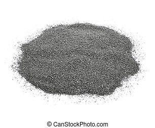 gray gravel - closeup of a pile of gray gravel on a white ...