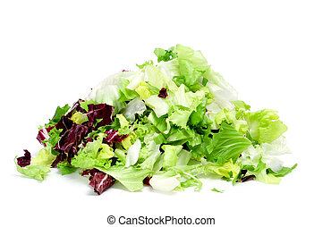 closeup of a pile of lettuce mix isolated on a white background