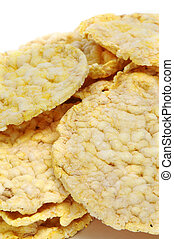 rice cakes - closeup of a pile of rice cakes isolated on a ...