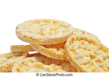 rice cakes - closeup of a pile of rice cakes on a white ...