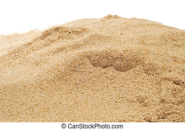 sand - closeup of a pile of sand on a white background