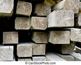 Closeup of a pile of wood with beams