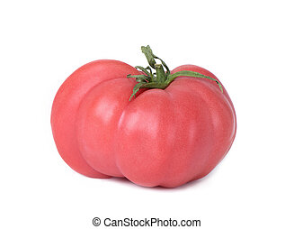 pink beef tomato on a white background - closeup of a pink ...