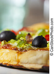 closeup of a pizza on a plate