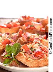 closeup of a plate of Bruschetta