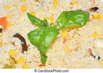 closeup of a plate of rice salad