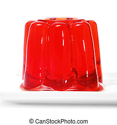 gelatin - closeup of a plate with a red gelatin on a white...