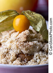 closeup of a portion of apple crumble