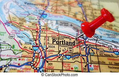 Closeup of a Portland Oregon map with tack