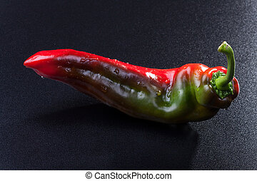 closeup of a red green pepper