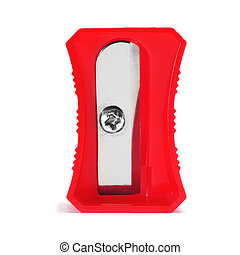 closeup of a red pencil sharpener on a white background