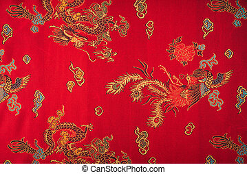 Closeup of a red silky chinese fabric ( Filtered image ...