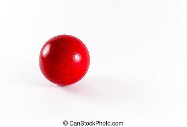Closeup of a Red Wooden Ball