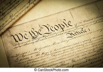 Closeup of a replica of U.S. Constitution document