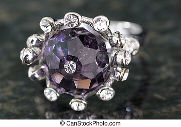 Closeup of a ring with zirconia