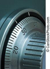 Closeup of a safe combination lock