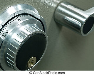 Closeup of a Safe Vault Combination Spinner - Gray Toned