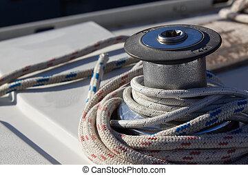 closeup of a sailboat winch