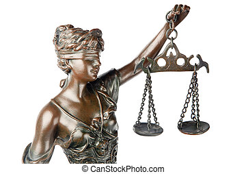 Closeup of a sculpture of Themis, mythologic greek godness, symbol of justice, blind and holding empty balance in her hand, isolated on white backgroung