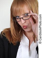 Closeup of a seductive woman pouting