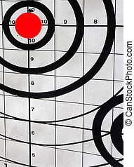 Closeup of a shooting target with an angle view