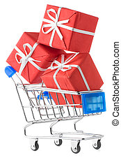shopping cart with gifts - closeup of a shopping cart with ...