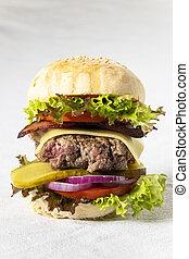 closeup of a single cheeseburger