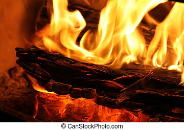 Closeup of a slow combustion wood fire.
