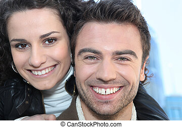 Closeup of a smiling couple