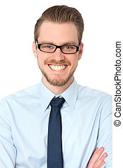 Closeup of a smiling man in glasses
