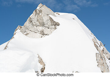 Closeup of a snowy mountain