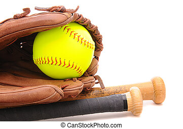 Closeup of a Softball Glove ball and two bats on white with copyspace. Horizontal format.