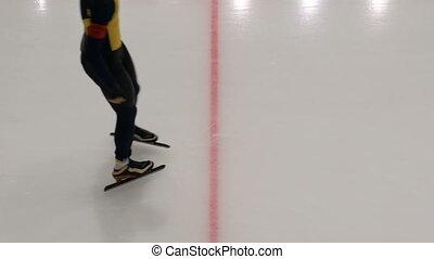 closeup of a speed skating individual start sprint men...