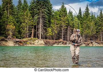 Closeup of a sport fly fisherman hooked into a salmon on a river in British Columbia