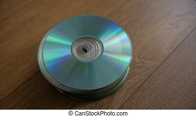 Closeup of a stack compact discs.