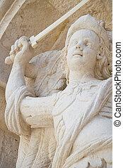 Closeup of a statue.