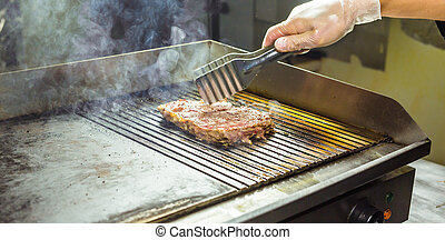 closeup of a steak on grill