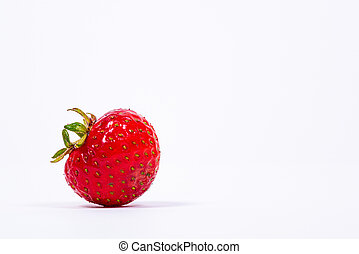 Closeup of a strawberry on white background