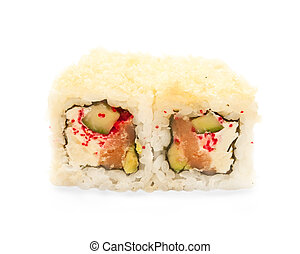 closeup of a sushi roll isolated on white