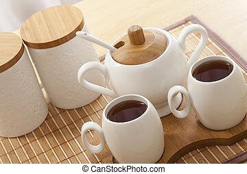 Closeup of a tea set