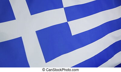 Closeup of a textile flag of Greece