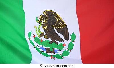 Closeup of a textile flag of Mexico